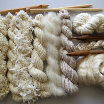 Yarn pack for knitting, crochet, weaving or felting. Wool, silk and kid mohair - Natural.