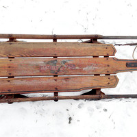 Antique Sled Flexible Flyer No. 3 C Eagle Carrying American Shield, Vintage Wooden Sled, Rare, Old Primitive Winter, Local PICK UP