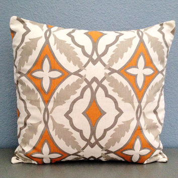 Orange Grey and Ceam Decorative Pillow Cover Orange Home Decor Orange Nursery Decor 18in Cotton Accent Pillow Modern Throw Pillow Medallion