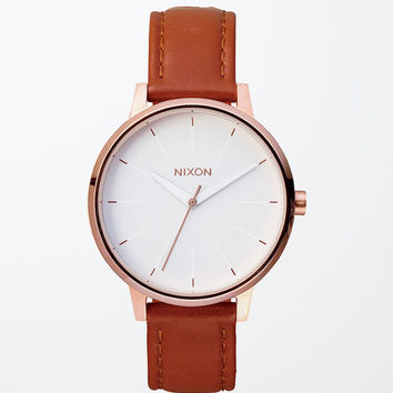 Nixon Kensington Leather Gold Watch at PacSun.com