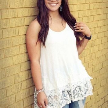 Down for the Weekend - Cream Racerback Tank Top with Lace Hem