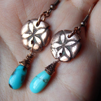 Pure Copper Artisan Handmade SandDollar Earrings With Turquoise - Turquoise Earrings - Handmade Unique Earrings - SandDollar Jewelry
