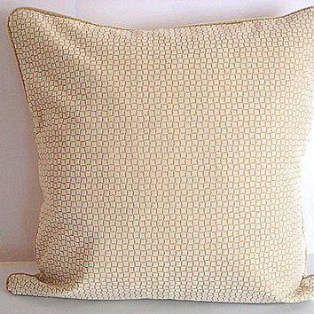 20x20 inches Square relief print chenille sham – Almond and tan classical toss pillowcase – Handmade velvet border cushion cover home decor