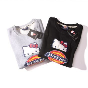 Men and women sweater lovers wear big suit tooling Dickies Hello Kitty plus cashmere sweater
