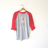 Vintage '82 WISCONSIN BADGERS Independence Bowl Collegiate Beat Up Raglan Sport-T Tee Sz XL