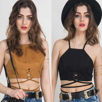 Suedette Cut Away Multi Strap Tied Crop Top = 5658141377