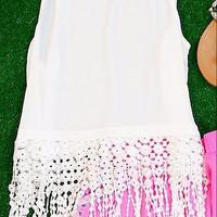 FOR THE LOVE OF FRINGE CHIFFON TANK