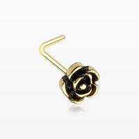 Golden Vintage Rose Icon L-Shaped Nose Ring