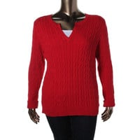 Charter Club Womens Plus Cable Knit Solid Pullover Sweater