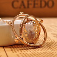 1pc Gold Hourglass Harry Potter Time Turner Necklace Hermione Granger Rotating Spins free shipping