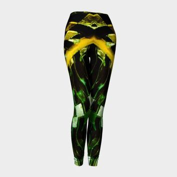 ONETOW Green Gold Metal Leggings