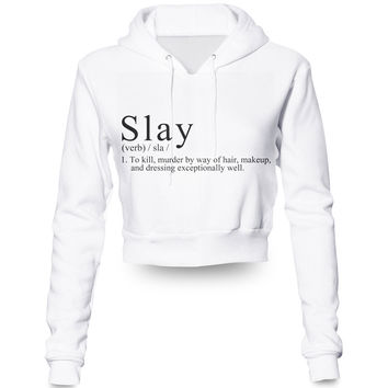 Custom Made Slay (Beyonce Inspired) 3D Sublimation Print female Crop hoody/hoodie Plus Size Clothing