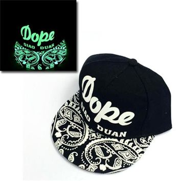 Trendy Winter Jacket green Glow Dark Snapback Caps little stars  Hip Hop Fluorescent Baseball Cap Casual Luminous Caps Fitted Hats for Women Men 302 AT_92_12