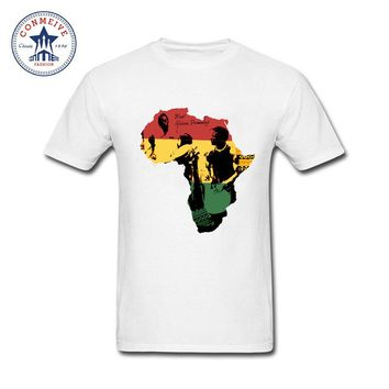 2017 Various Colors Funny Cotton African Map Black History Rastafar Reggae Funny T Shirt for men