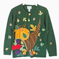 Quacker Factory Autumn Cornucopia Thanksgiving Ugly Sweater