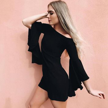 Off Shoulder Long Sleeve Frills Pagoda Sleeve Solid Color Women Mini Dress