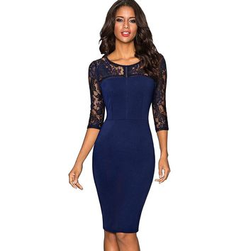 Autumn Women Elegant Embroidery Floral Sexy See Through Lace Party Work Business Sheath Vestidos Bodycon Dress EB417