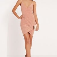 Missguided - Chain Strap Ruched Bodycon Dress Pink