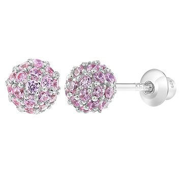 925 Sterling Silver Cubic Zirconia Fireball Ball Screw Back Earrings Girls or Teens 4mm