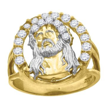 CZ Jesus Face with Chrown of Thorns Men\'s Ring in 10k Yellow & White Gold