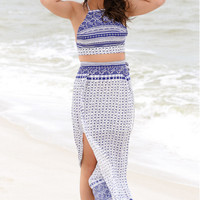 Print Halter Toop &Slit Long Skirt Two Piece B005633
