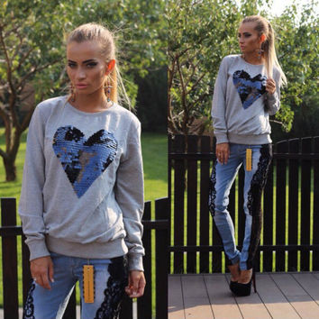 Heart Shaped Sequined Long Sleeve Sweater
