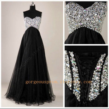 Gorgeous Black A-Line Floor-Length Prom Dresses/Graduation Dresses from prom 2013