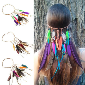 Feather Headband Bohemian Vintage Women Hair Bands Summer Style Hair Accessories Ladies Acessorios Para Cabelo#121