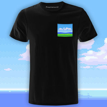 8-Bit Oceanview Black Pocket Tee