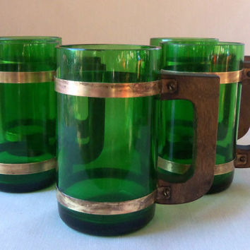 Vintage Mugs Repurposed Glassware Green Walnut Brass