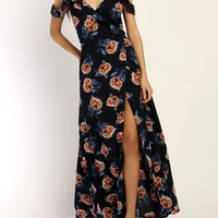 Time Tested Navy Blue Floral-print Wrap Dress