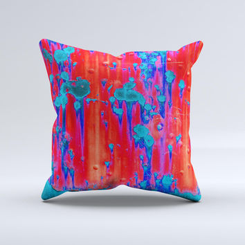 Bright Red v2 Metal with Turquoise Rust  Ink-Fuzed Decorative Throw Pillow