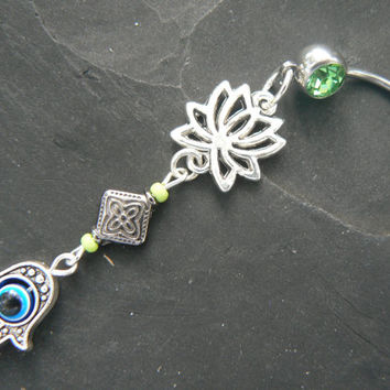 hamsa lotus belly ring GREEN lotus flower  evil eye  zen yoga  Moroccan boho  new age gypsy hippie belly dancer beach and hipster style