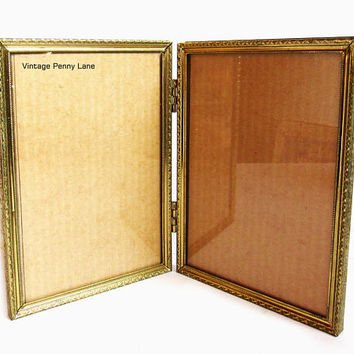 Vintage Folding Brass Picture Frame, Double  5x7