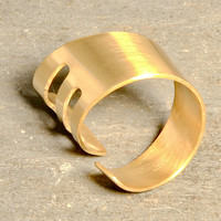 Ultramodern Bronze Bypass Ring Wrapped with a Hint of Art Deco