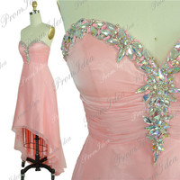 Pink Bridesmaid Dress High Low Prom Dresses Beading Strapless 2014 Prom Dress Formal Dress Grad Dress Evening Dress Ball Gown Cocktail Dress