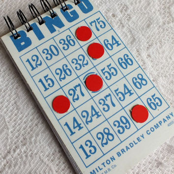 Vintage Bingo Card Recycled Notebook Journal, Sketchbook, Jotter Sketchpad