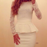 White Long Sleeve Floral Lace Peplum Mini Dress