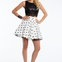 Two Piece Sequin and Polka Dot Dress