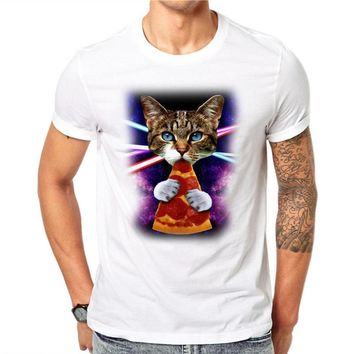 Cat Eating Slice Of Pizza Galaxy Space 3D T-shirt