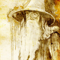 """Gandalf, The Hobbit watercolor painting print 8"""" x 12"""" Celebrity Portraits, dragon, The Lord of the Rings,"""