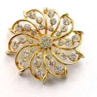 Vintage Weiss Rhinestone Pinwheel Brooch  Mad Men Glamor Party Jewelry