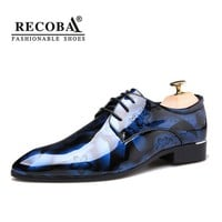 Men shoes luxury designer Shadow Patent Leather formal wedding shoes oxford derby flats brogues dress shoes hombre