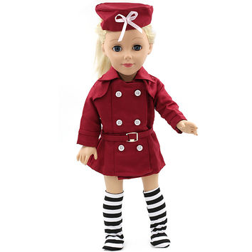 American Girl Dolls 18 Inch Doll Clothing Red Stewardess Business Attire Hat Doll Clothes Set of Doll Dress MG-064