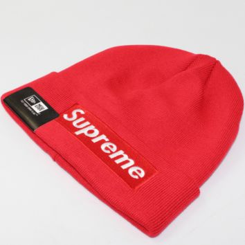 Supreme embroidery red standard men and women cotton wool hat Red