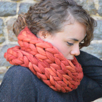 Chunky Knit Scarf - Pure Merino Wool Infinity Scarf - Snood