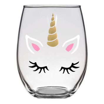 Unicorn Face With Glitter Horn Stemless Wine Glass