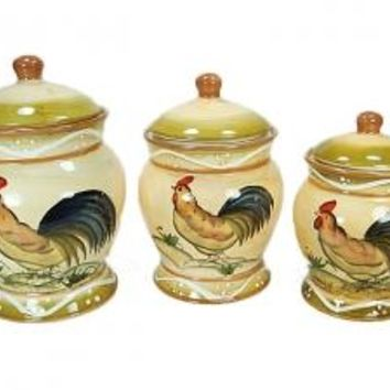 Rooster Design Three Piece Ceramic Canister Set