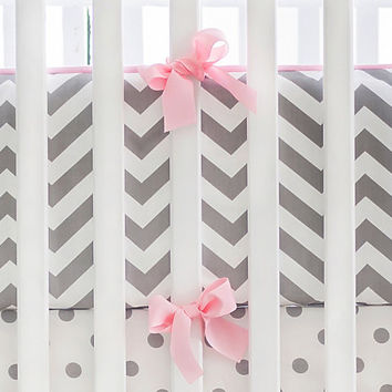Gray Chevron with Pink Trim Baby Girl Crib Bumper