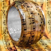Music Notes Resin Bangle with Golden Flakes. Classical Golden Composition of Mozart symphony 40.Statement art bangle. Modern.